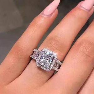 2 Carat Emerald CZ Diamond Engagement Ring size 6